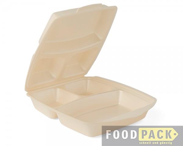 Menübox 3-geteilt, 22x28x7,5 cm, geschäumt Dinnerbox