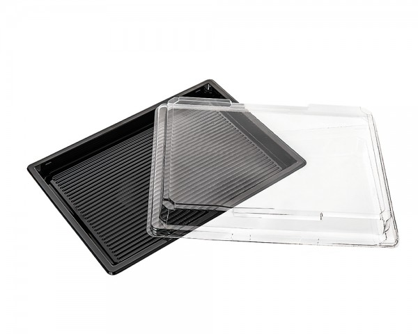Sushi Verpackung schwarz mit Deckel günstig kaufen